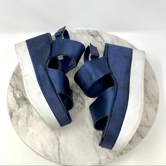 Zara Basic Chunky satin platform sandals navy 8